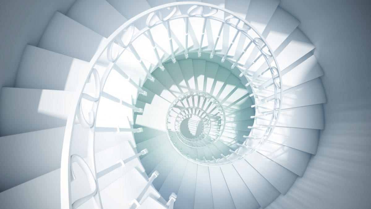 Blue,Spiral,Stairs,With,Rails,In,Sun,Light,Abstract,3d